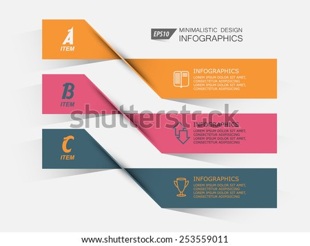 set of twisted paper banner options infographics - stock vector