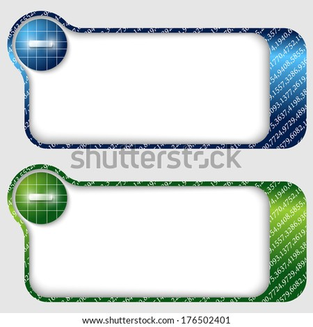 set of two abstract text frames with minus sign