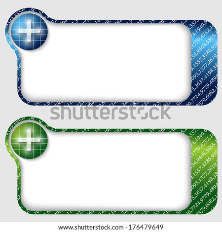 set of two abstract text frames with plus sign