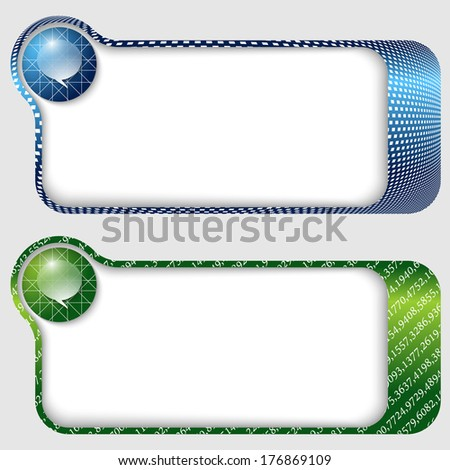 set of two abstract text frames with speech bubble