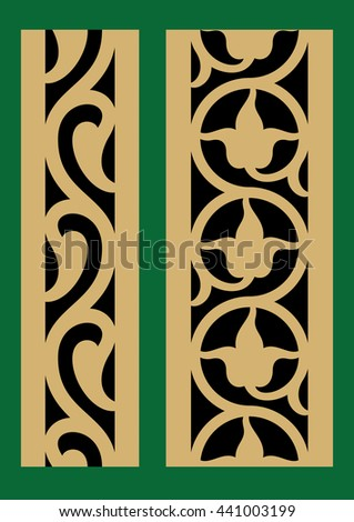Set of Two Arabic Vertical Seamless Borders. Traditional Islamic Floral Design. Ocher on black. Mosque decoration element.