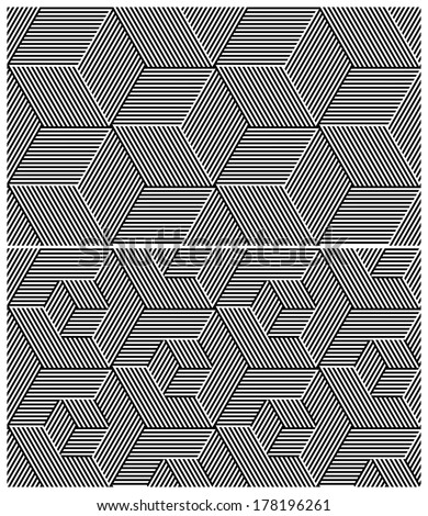 Set of Two B&W Seamless Patterns. Cubic Elements. Vector Illustration - stock vector