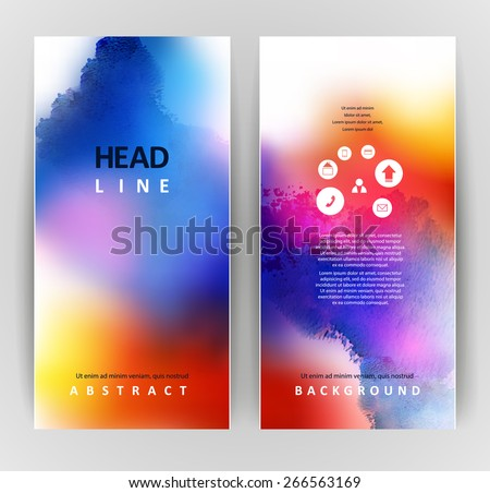 set of two banners, abstract headers with bright blots  - stock vector