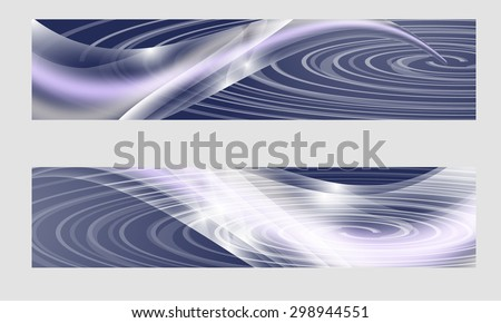 Set of two banners with abstract waves and spiral - stock vector