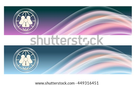Set of two banners with colored rainbow and globe - stock vector