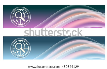 Set of two banners with colored rainbow and globe and magnifier - stock vector