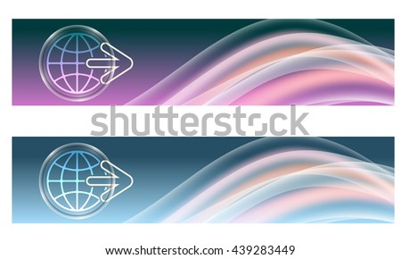 Set of two banners with colored rainbow and icon of globe - stock vector