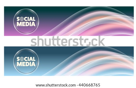 Set of two banners with colored rainbow and icon of social media - stock vector