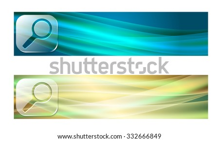 Set of two banners with waves and transparent magnifier - stock vector