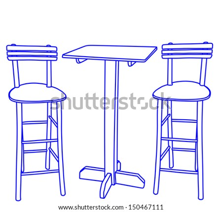 set of two bar stools and table vector isolated on white background, fast food interior with wooden chairs and table