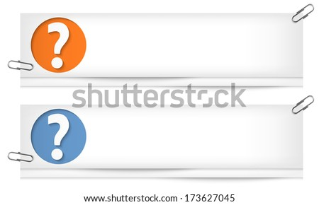 set of two blank banners with question mark - stock vector
