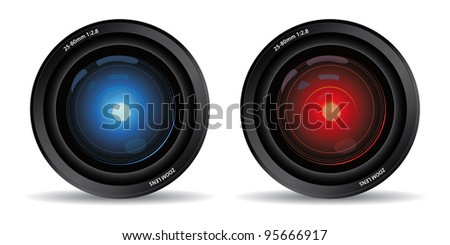 set of two camera lens - stock vector