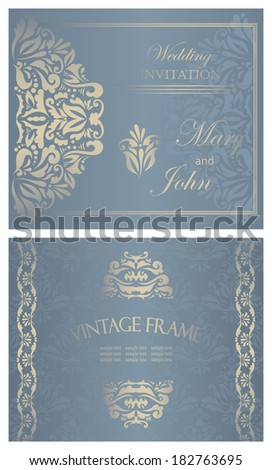 Set of two cards. Can be used as wedding invitation. Vintage background. Luxury design       - stock vector