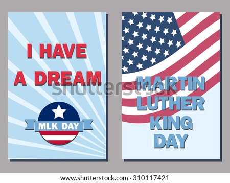 set of two cards for the Martin Luther King Day - stock vector