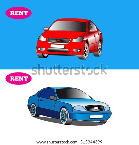Set of two cars, on a white and blue background with inscription rent.