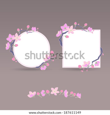 set of two charming vintage sacura frames and flowers for your design - stock vector