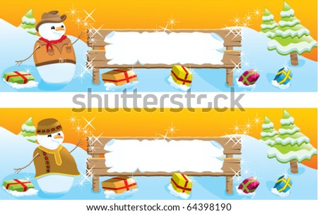 Set of two christmas banners with snowman. White frame to write a message. - stock vector