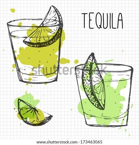 Set of two cocktail shots with lime segments. Sketch and watercolor. - stock vector