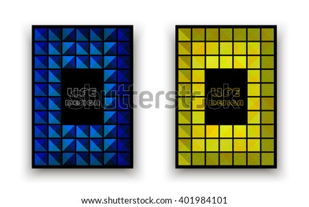 Set of two covers in blue and yellow colors on a black background, Abstract composition, a4 brochure title sheet, logo sign construction, firm banner, flier fashion, EPS10 illustration - stock vector