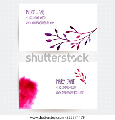 Set of two creative business card templates with artistic vector design. Branch of tree and abstract pink watercolor splashes. - stock vector