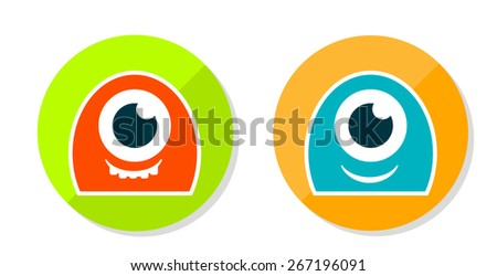 Set of two cute sticker monsters - stock vector