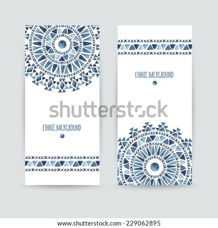 Set of two ethnic banners. Business cards templates. Aztec watercolor backgrounds. Greeting cards, invitations, flyers. Vector illustration.   - stock vector
