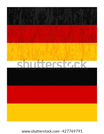 Set of two German flag. One new and one grunge and vintage - stock vector