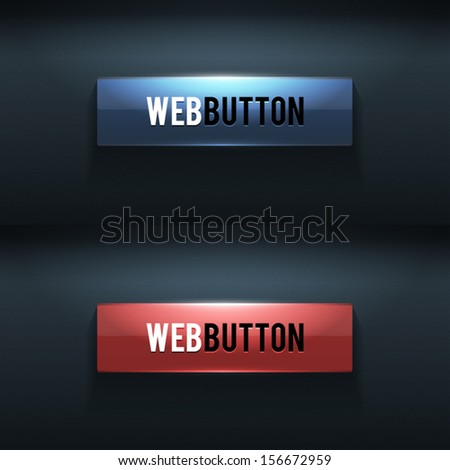 Set of two glossy buttons  - stock vector
