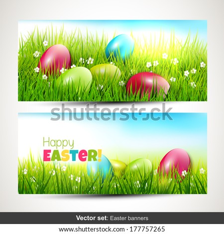 Set of two horizontal Easter banners with eggs in grass - stock vector