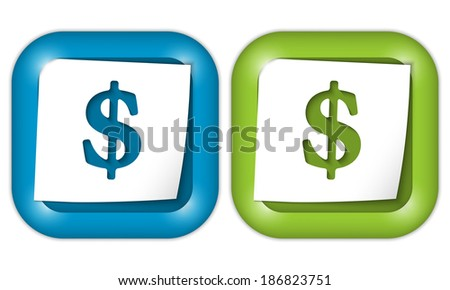 set of two icons with paper and dollar sign - stock vector