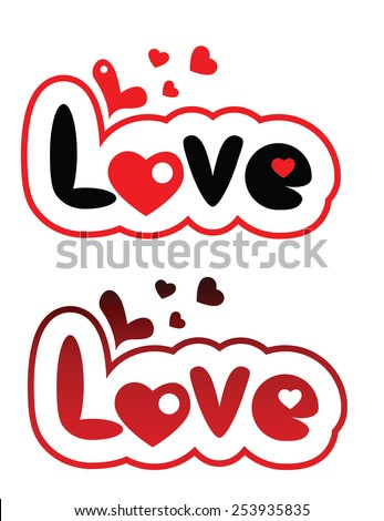 set of two love lettering - stock vector