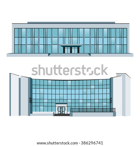 Set of two modern buildings for web design and infographics. Vector illustration