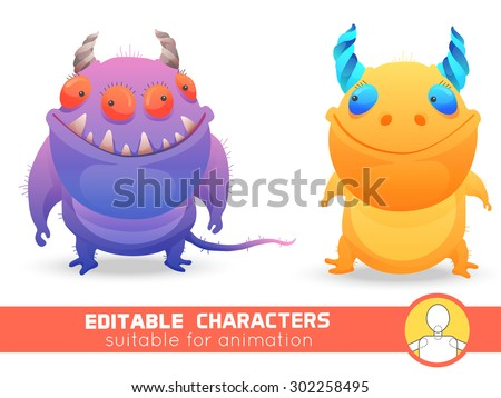 Set  of two monsters with horns. Neutral, negative or positive editable character. Suitable for animation, video and games. You can change color, position of body parts, dress and size. - stock vector