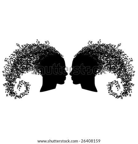 Set of two musical heads looking at each other isolated on white - stock vector