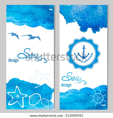 Set of two nautical design cards. Watercolor background and sea themed elements. - stock vector