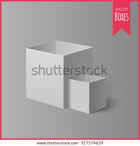 Set of two open light boxes for your design.  - stock vector