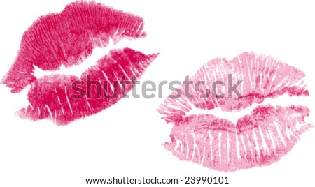 set of two pink vector lipstick kisses - stock vector