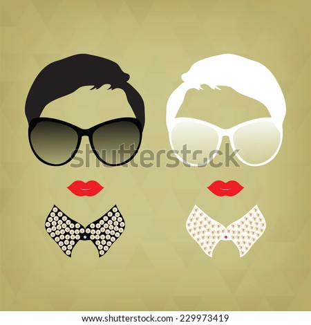 Set of two portraits of hipsters, two women. Hipster girl. Vintage hipster background. Print for your T-shirts. Black and white