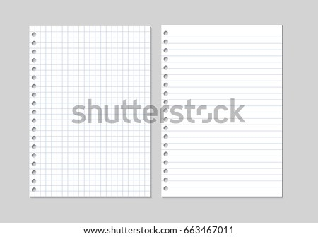 Set Of Two Realistic Vector Illustration Of Blank Sheets Of Square And Lined  Paper From A  Lined Paper To Type On