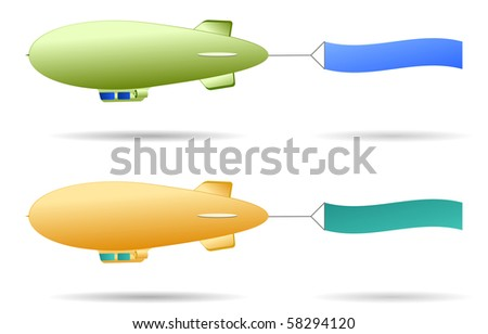 Set of two retro blimps with sign flag - stock vector