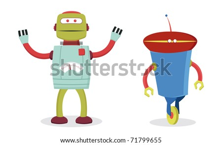 set of two retro robots for kids fun - stock vector