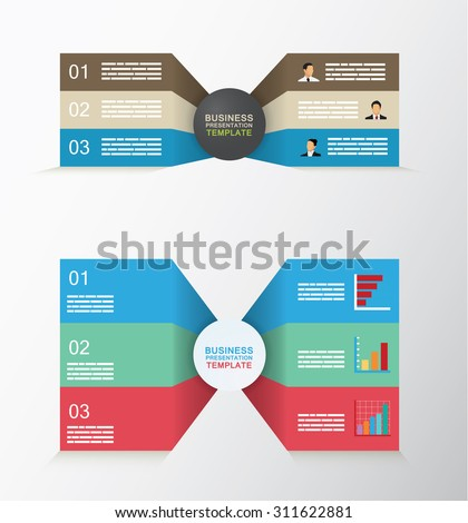 Set of two sided business template with three different levels - stock vector
