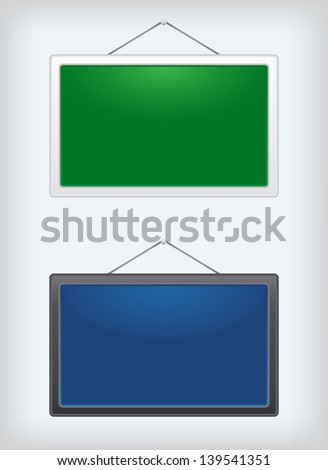 Set of two sign boards hanging on a nail. Vector