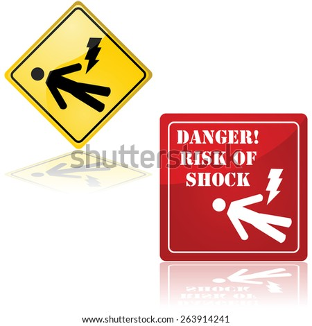 Set of two signs showing a man lying down and a lightning bolt, representing the danger of electric shock - stock vector