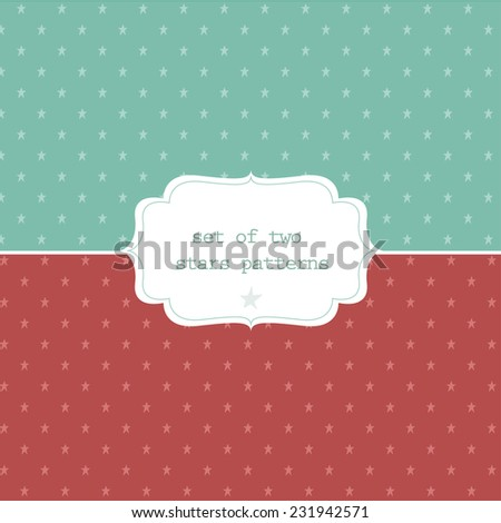 set of two stars patterns on pastel background