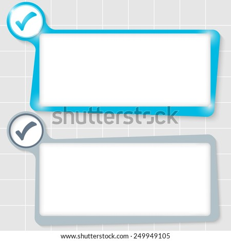 set of two text boxes for text and check box - stock vector