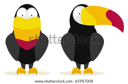 set of two toucans front and side view - stock vector