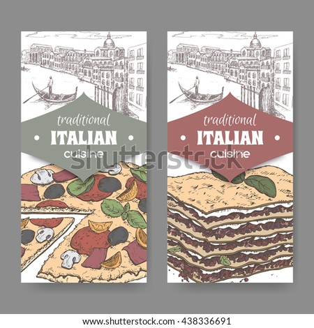 Set of two traditional Italian cuisine labels with Venice landscape, color pizza and lasagna on white. Great for pizzeria, bakery and restaurant, cafe ads, brochures, labels. - stock vector