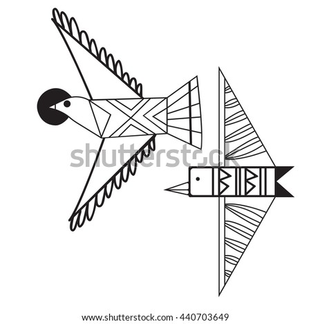 Set of two tribal birds vector template
