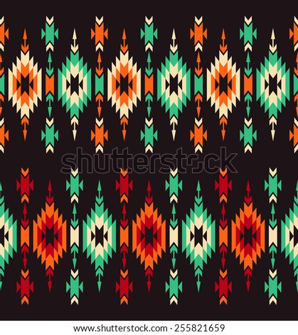 Set of two tribal seamless colorful geometric borders. - stock vector
